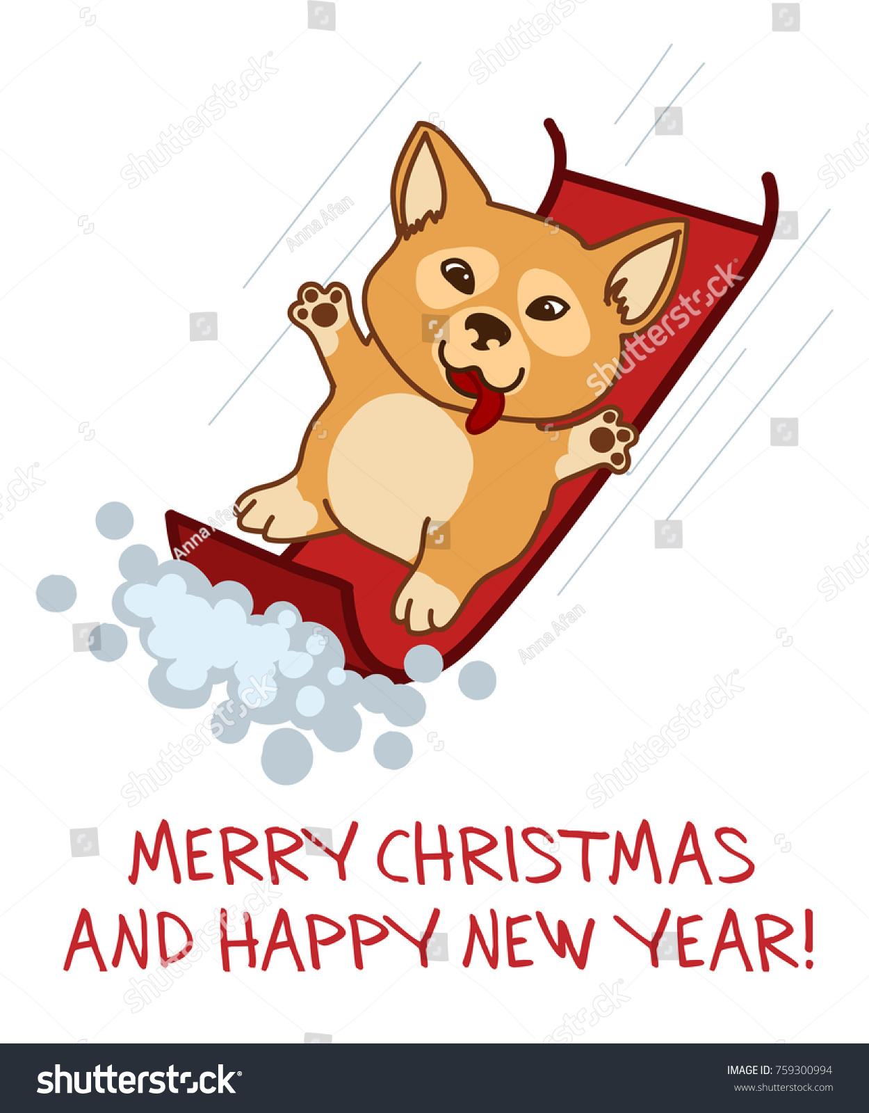 Christmas Card Christmas Dog Shiba Inu Stock-Vektorgrafik ...