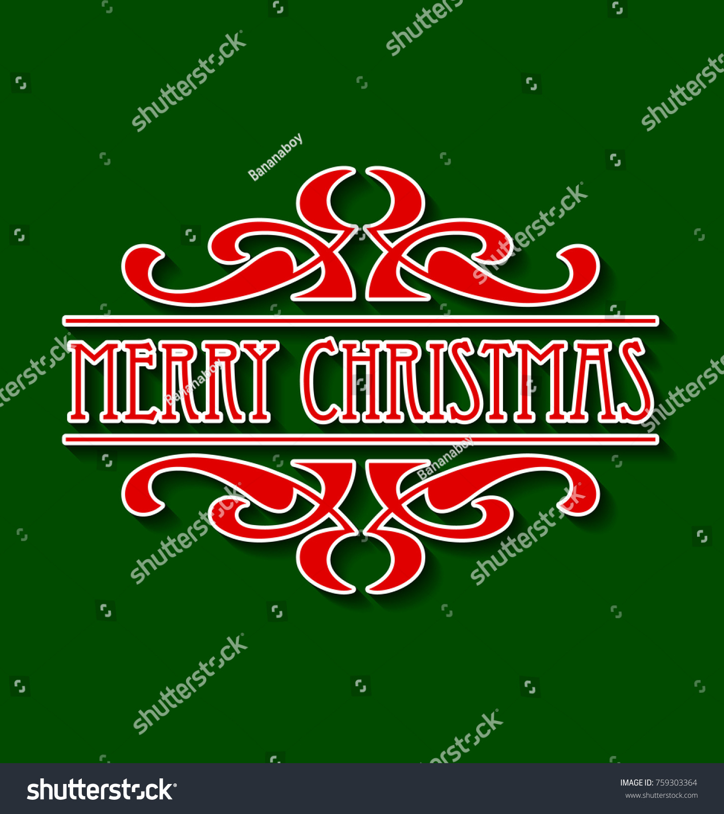 Old Fashioned Vintage Retro Merry Christmas Stock Vector (Royalty ...
