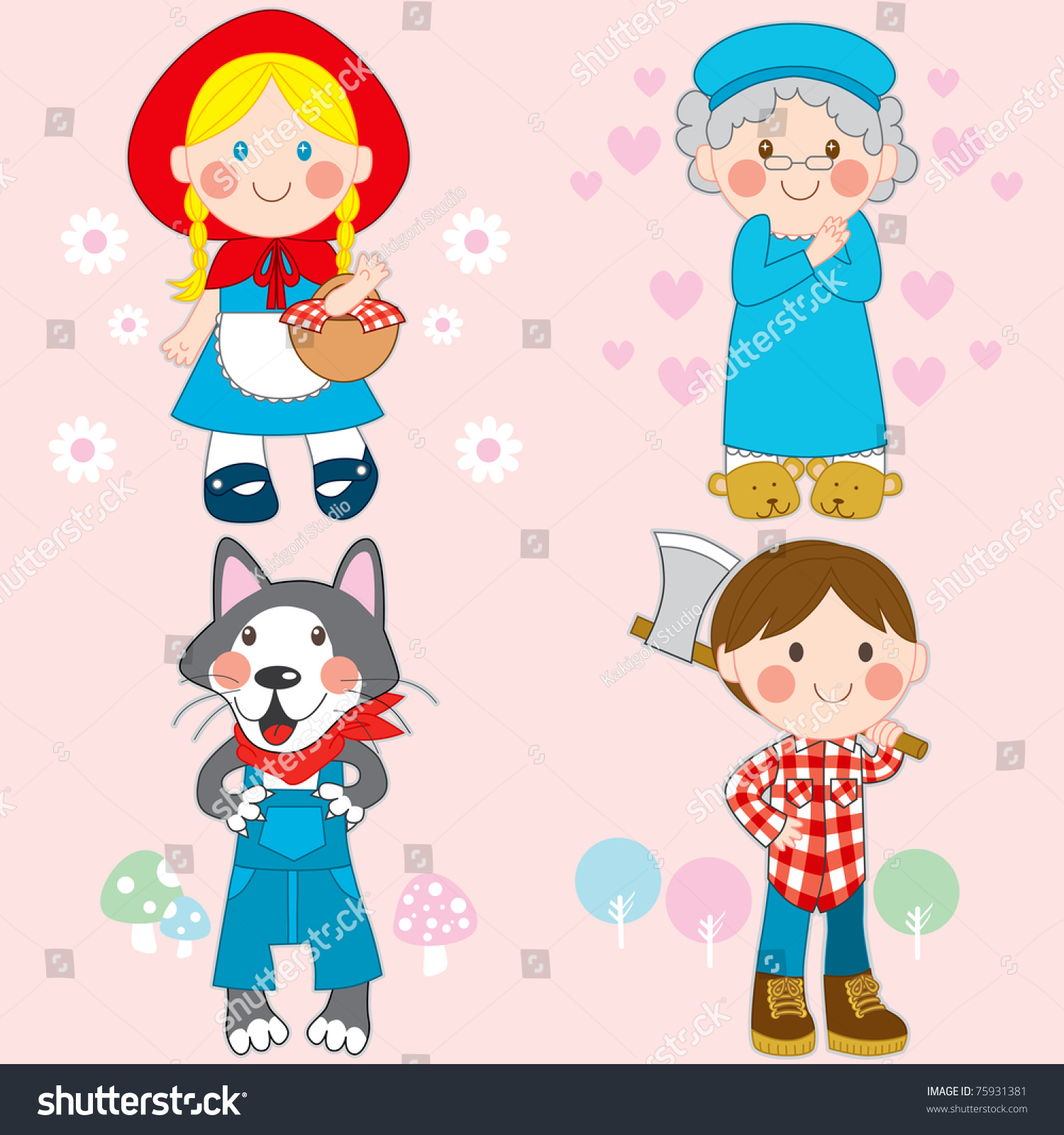 Set Characters Little Red Riding Hood Stock Vector Royalty Free