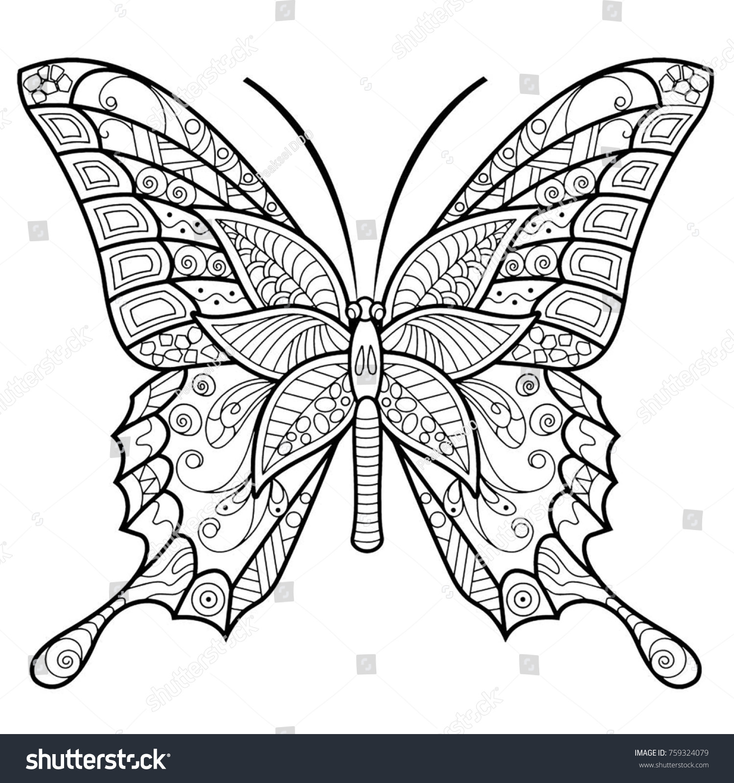 Butterfly Drawing Mandala Design Coloring Page Stock Illustration ...