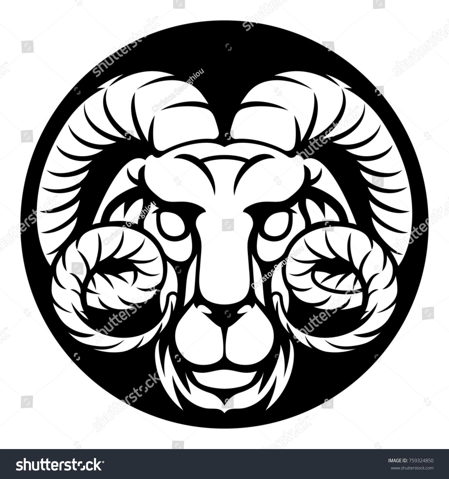 6ee7f360d Cirlce Aries Ram Symbol Astrology Horoscope Stock Illustration ...