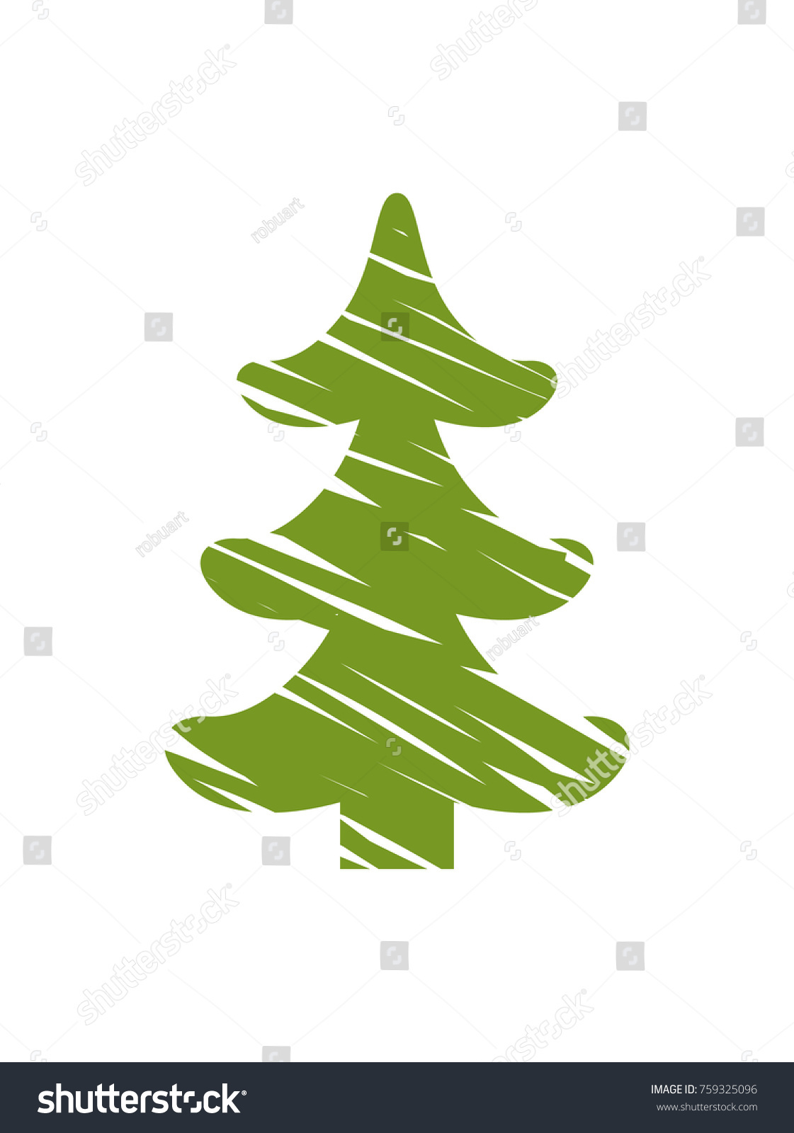 Christmas Tree White Lines That Symbolize Stock Vector 759325096