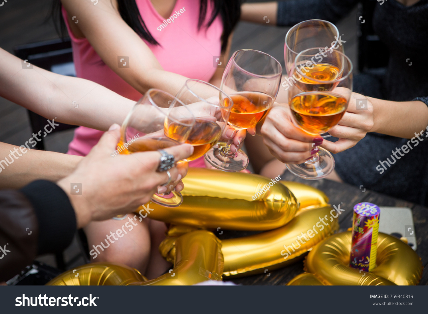 Hand Friends Greeting New Year Party Stock Photo Edit Now