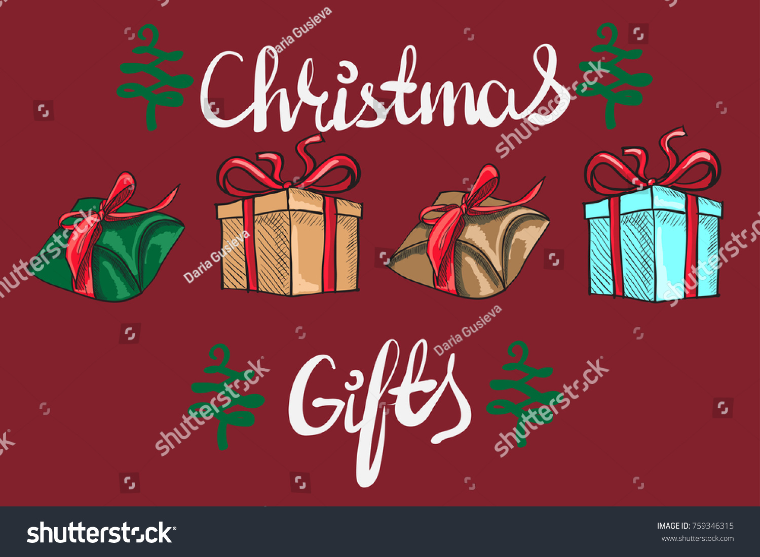 Set Graphic Gift Boxes Christmas Gifts Stock Vector (Royalty Free ...