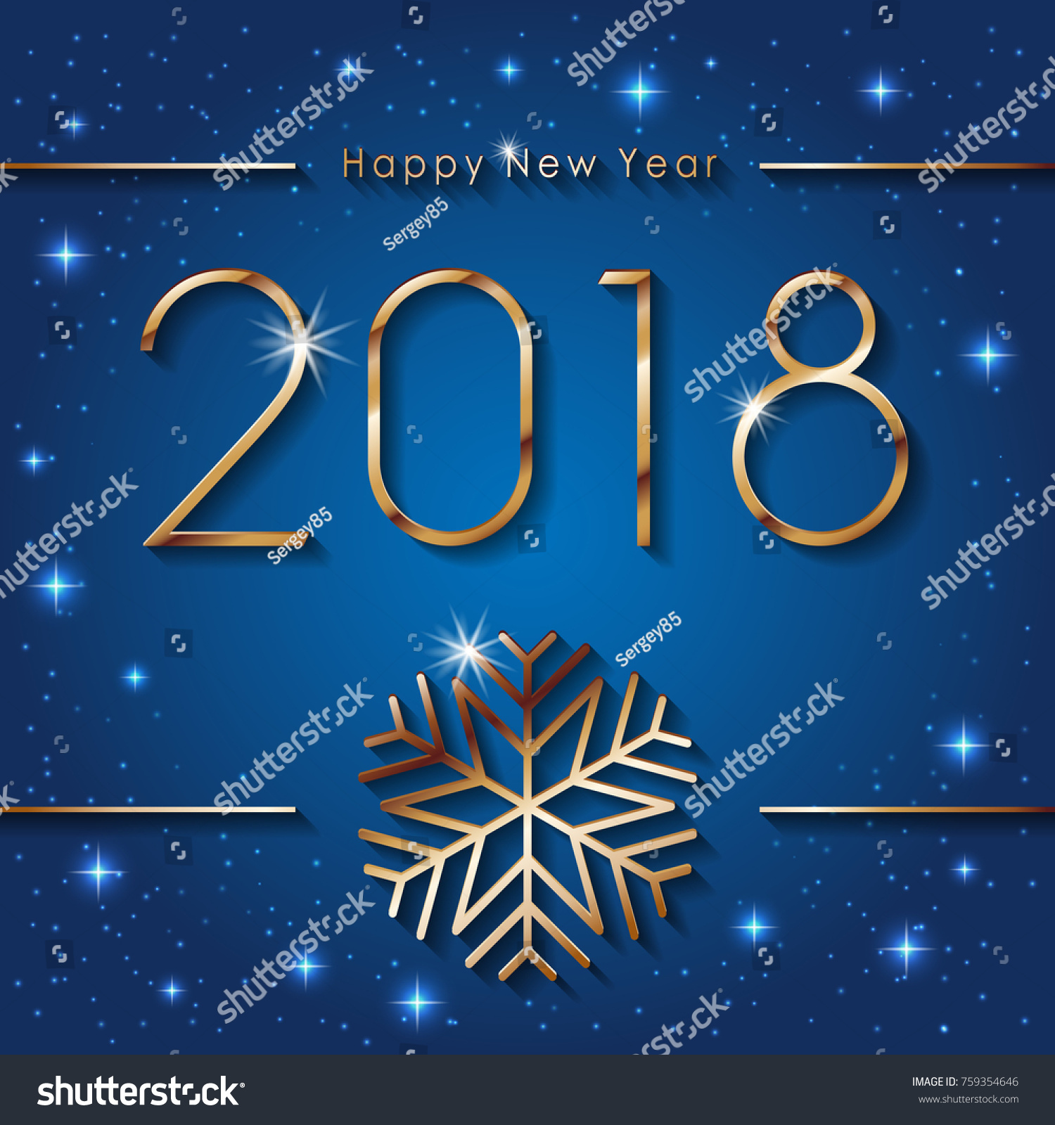 Happy new 2018 year seasons greetings stock vector royalty free happy new 2018 year seasons greetings banner with golden snowflake colorful winter background m4hsunfo