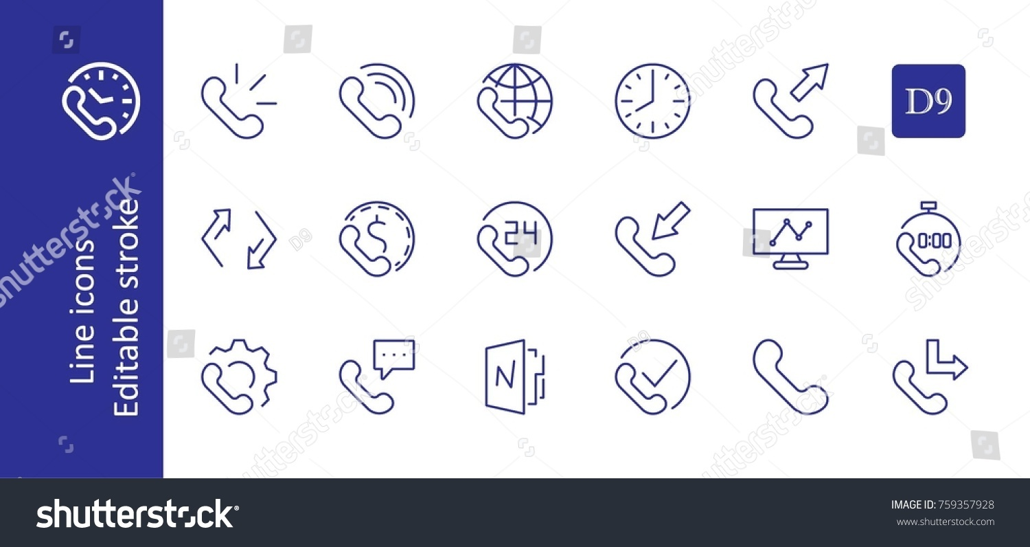 Set Phone Vector Line Icons Contains Stock Photo Photo Vector