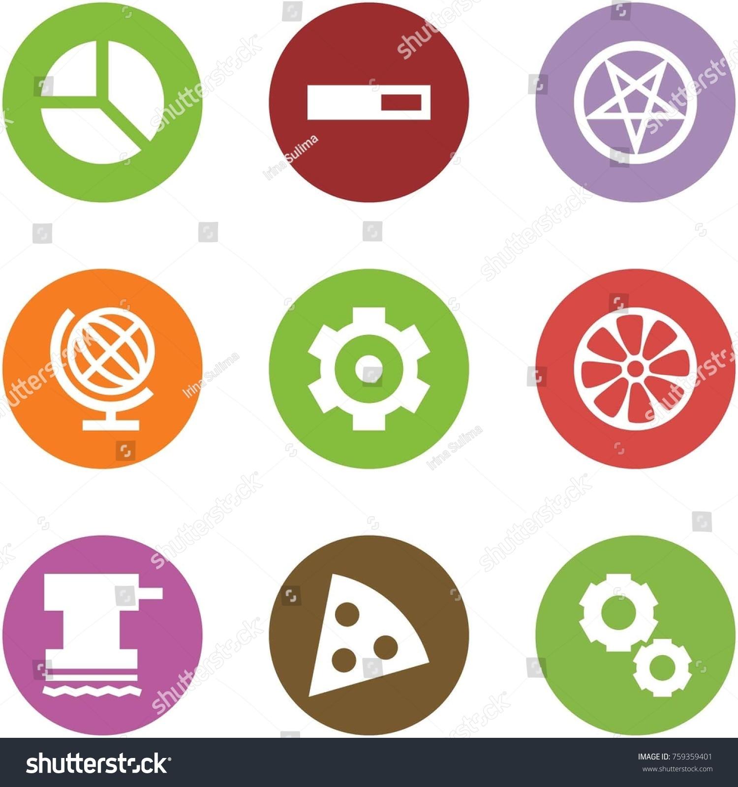 Origami Corner Style Icon Set Diagram Stock Vector Royalty Free Fireworks Loading Pentagram Globe Gear