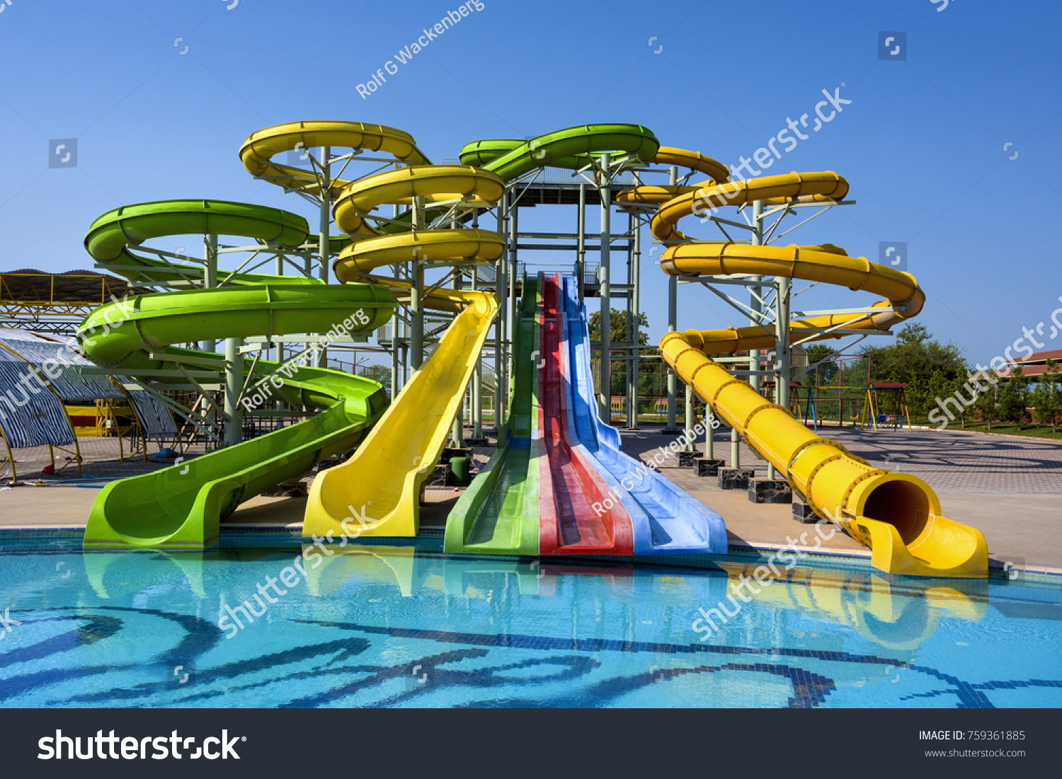Azerbaijan Near Nabran Big Colorful Water Slide Fun Park With Swimming Pool And Blue