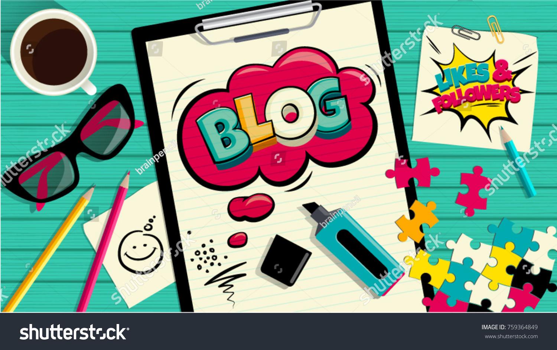 Blog Pop Art Cloud Bubble Funny Stock-vektorgrafik 759364849 ...