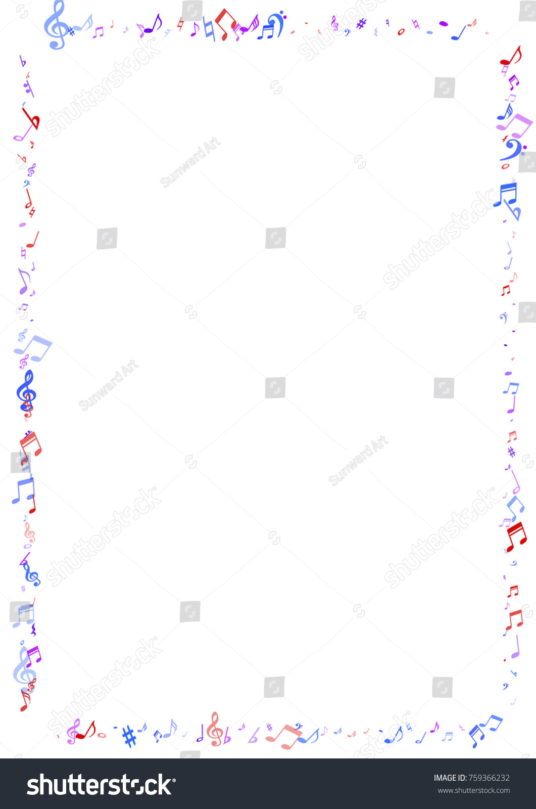 Colorful Musical Notes Flying Border Isolated Stock-Vektorgrafik ...
