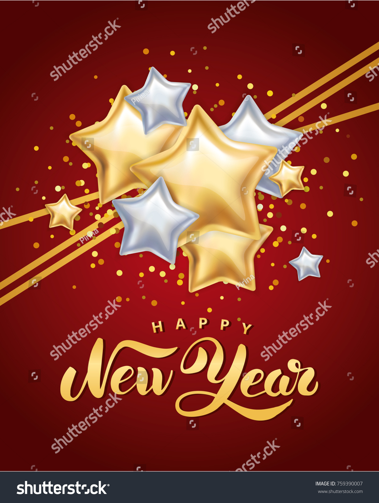 gold silver star happy new year greeting card invitation background event christmas
