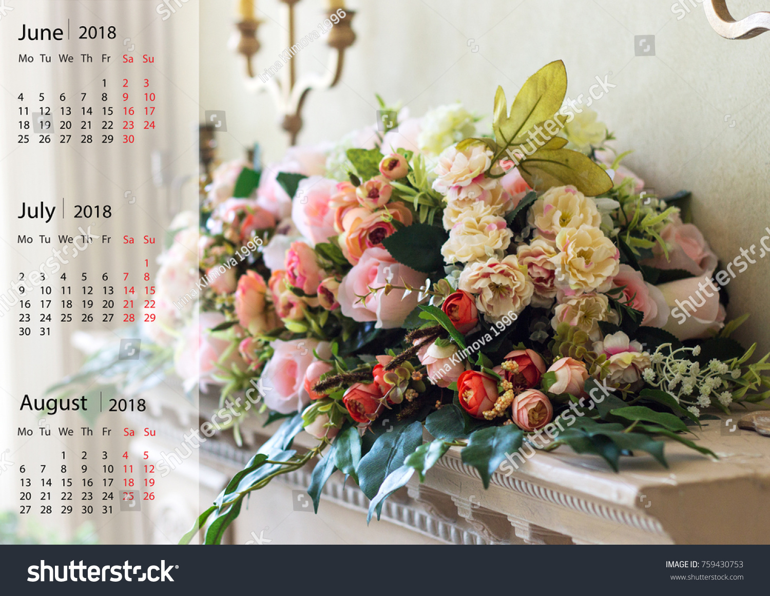 Bouquet different flowers on shelf wall stock photo edit now a bouquet of different flowers on the shelf wall calendar with beautiful flowers in a izmirmasajfo