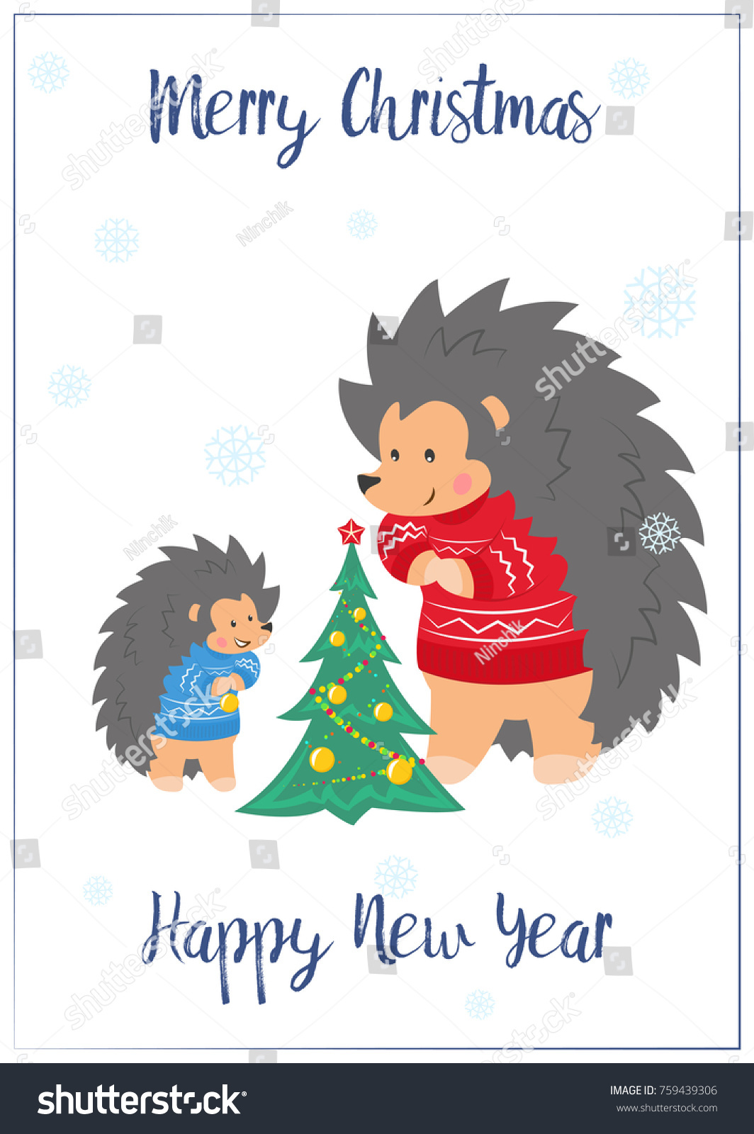 Christmas Card Family Hedgehogs Father Son Stock Vector (Royalty ...