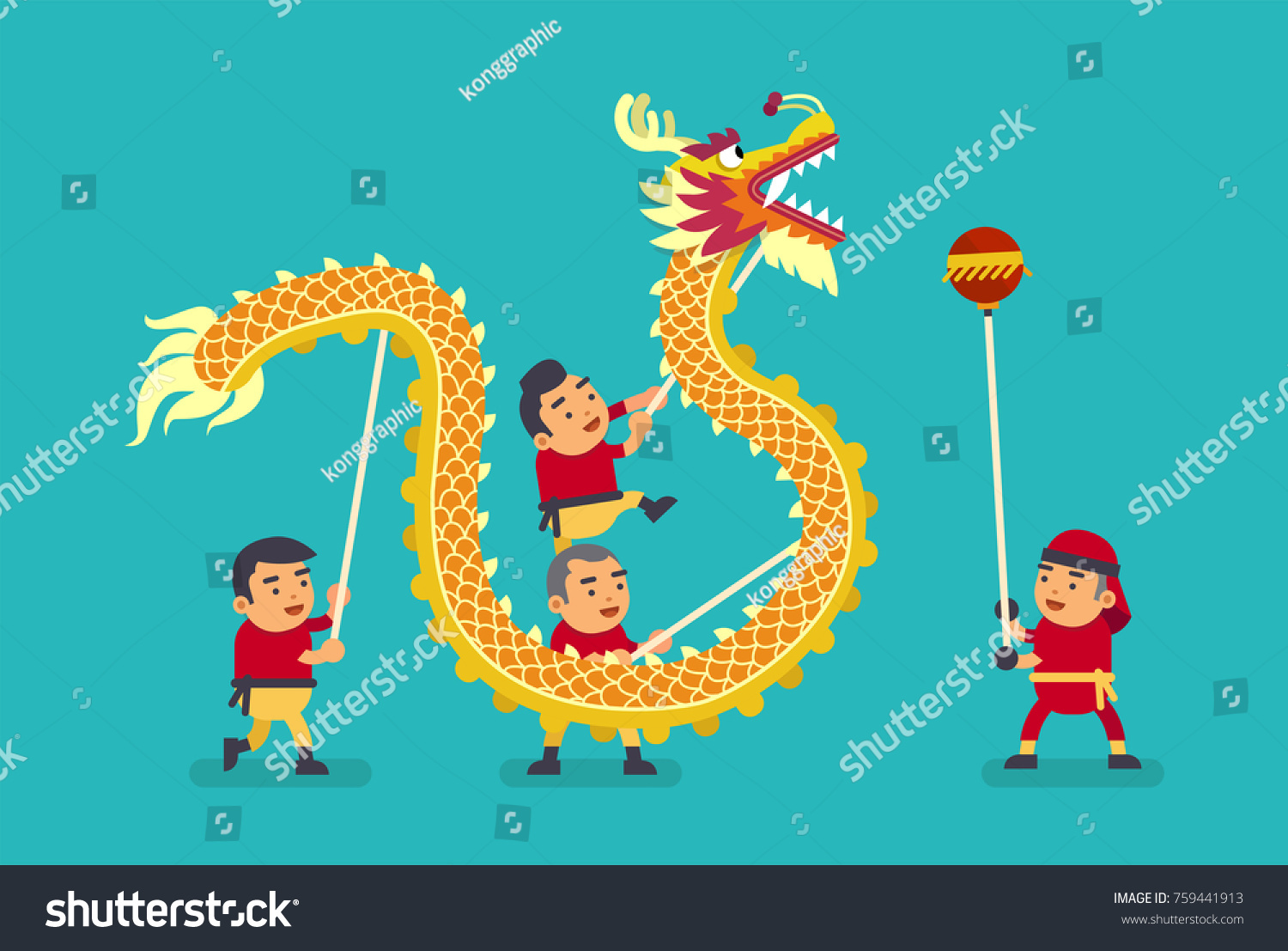chinese dragon dance vector illustration stock vector 759441913