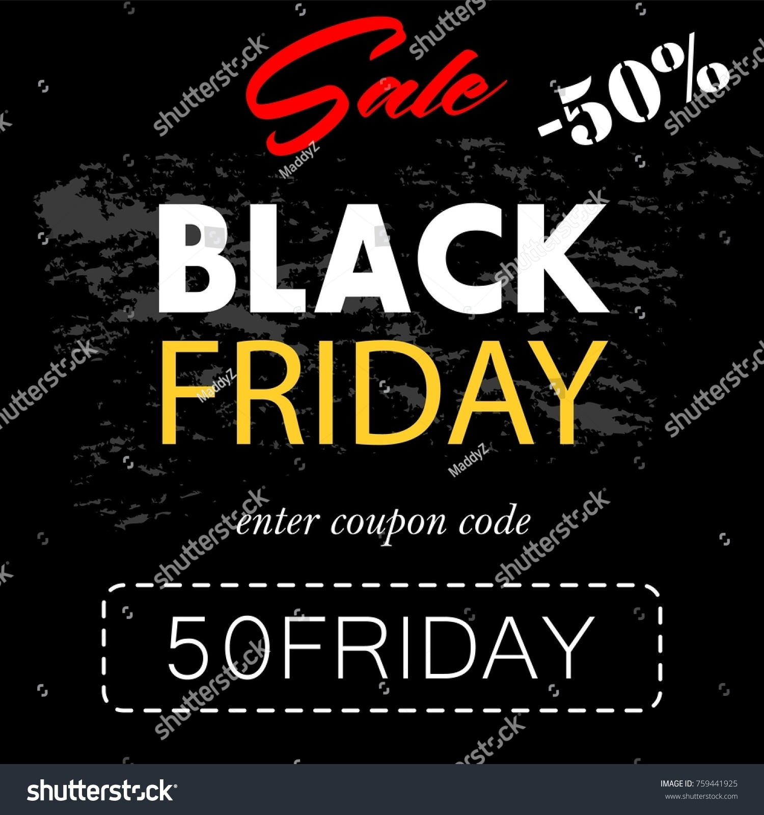 Black Friday Coupon Code Banner Flyer Stock Vector Royalty Free 759441925
