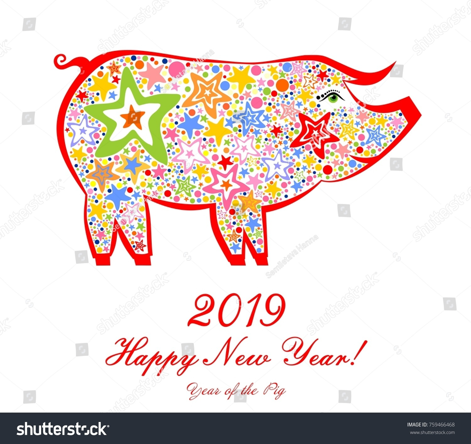 2019 happy new year greeting card stock vector 759466468 2019 happy new year greeting card celebration white background with pig and place for your kristyandbryce Gallery