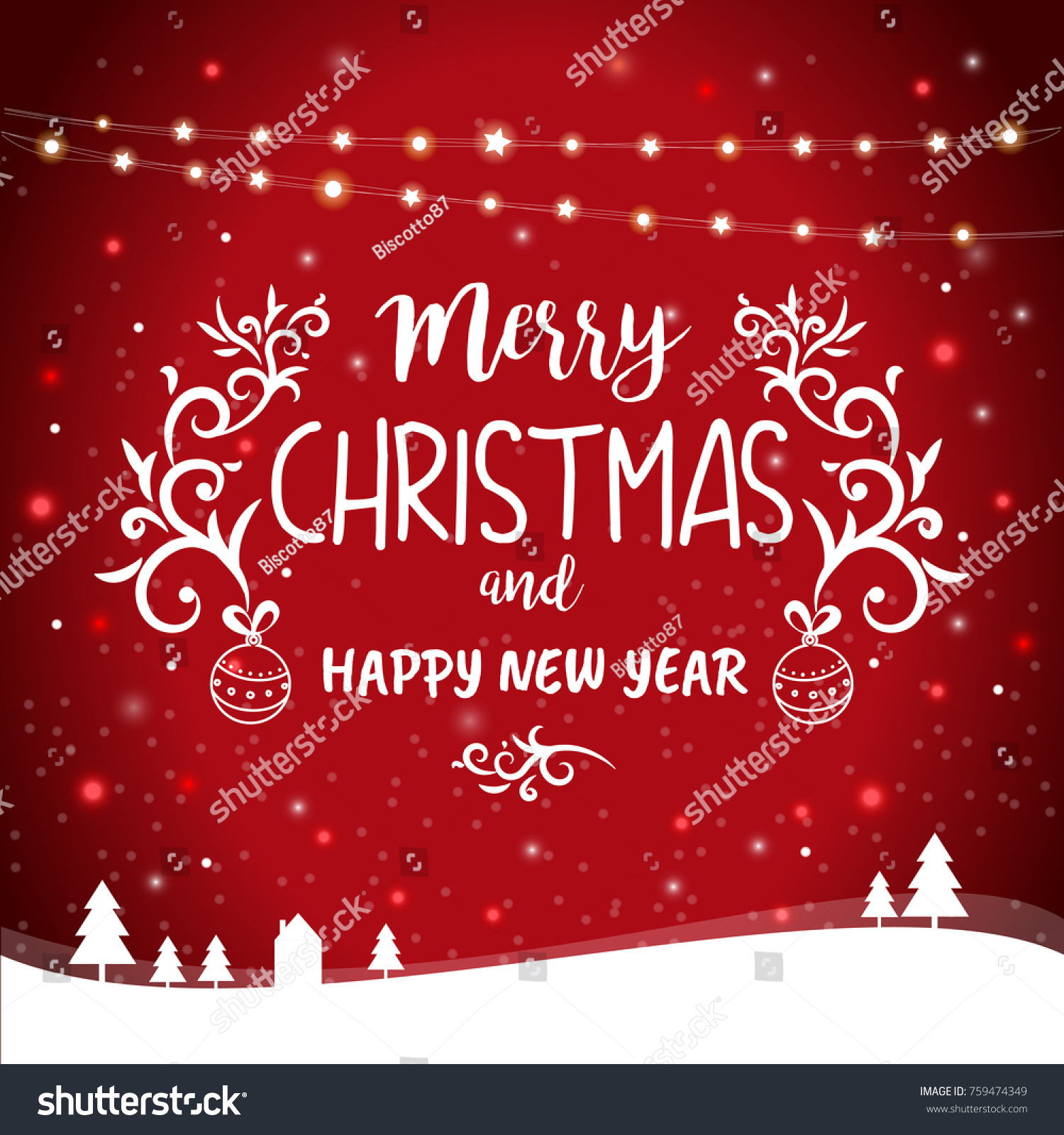 Merry christmas happy new year greetings stock vector 759474349 merry christmas and happy new year greetings card template vector illustration with hanging lights and kristyandbryce Images