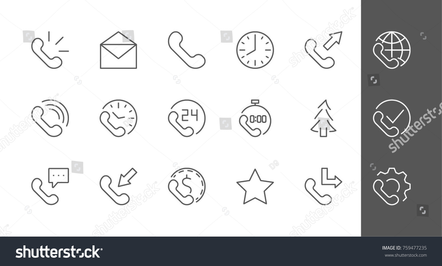 Set Phone Vector Line Icons Contains Stock Vector 759477235
