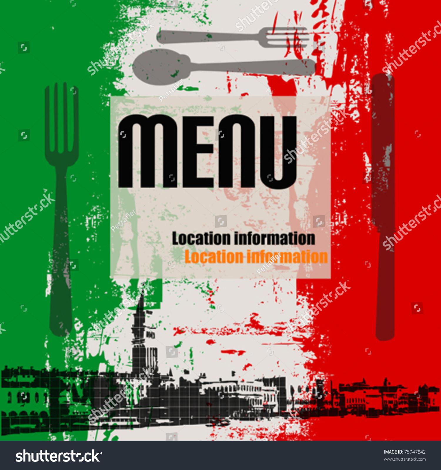 Italian Restaurant Logo With Flag: Italian Menu Vector Template View Venice Stock Vector