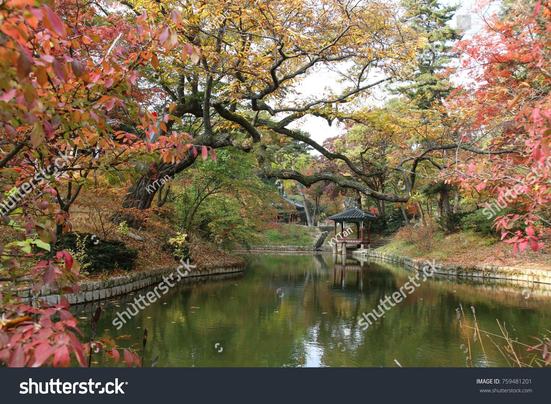 Garden with pavilion in Huwon Secret garden, Chandeokgung palace ...