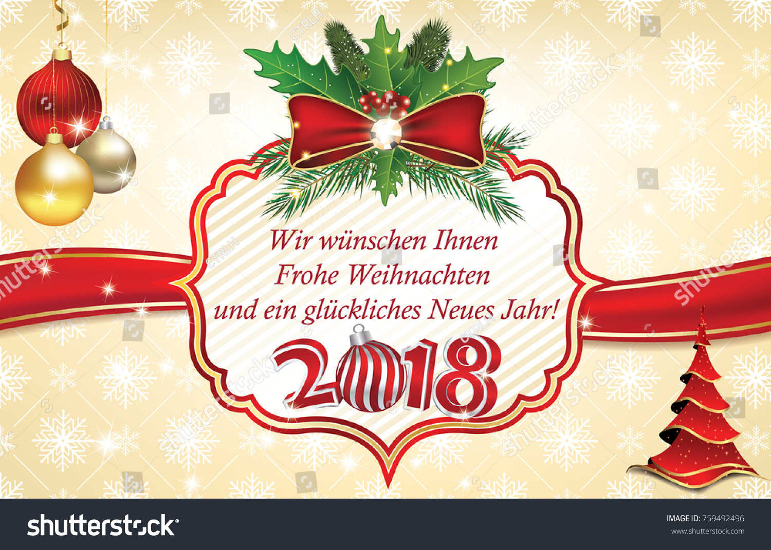 2018 Christmas New Year Greeting Card Stock Illustration 759492496