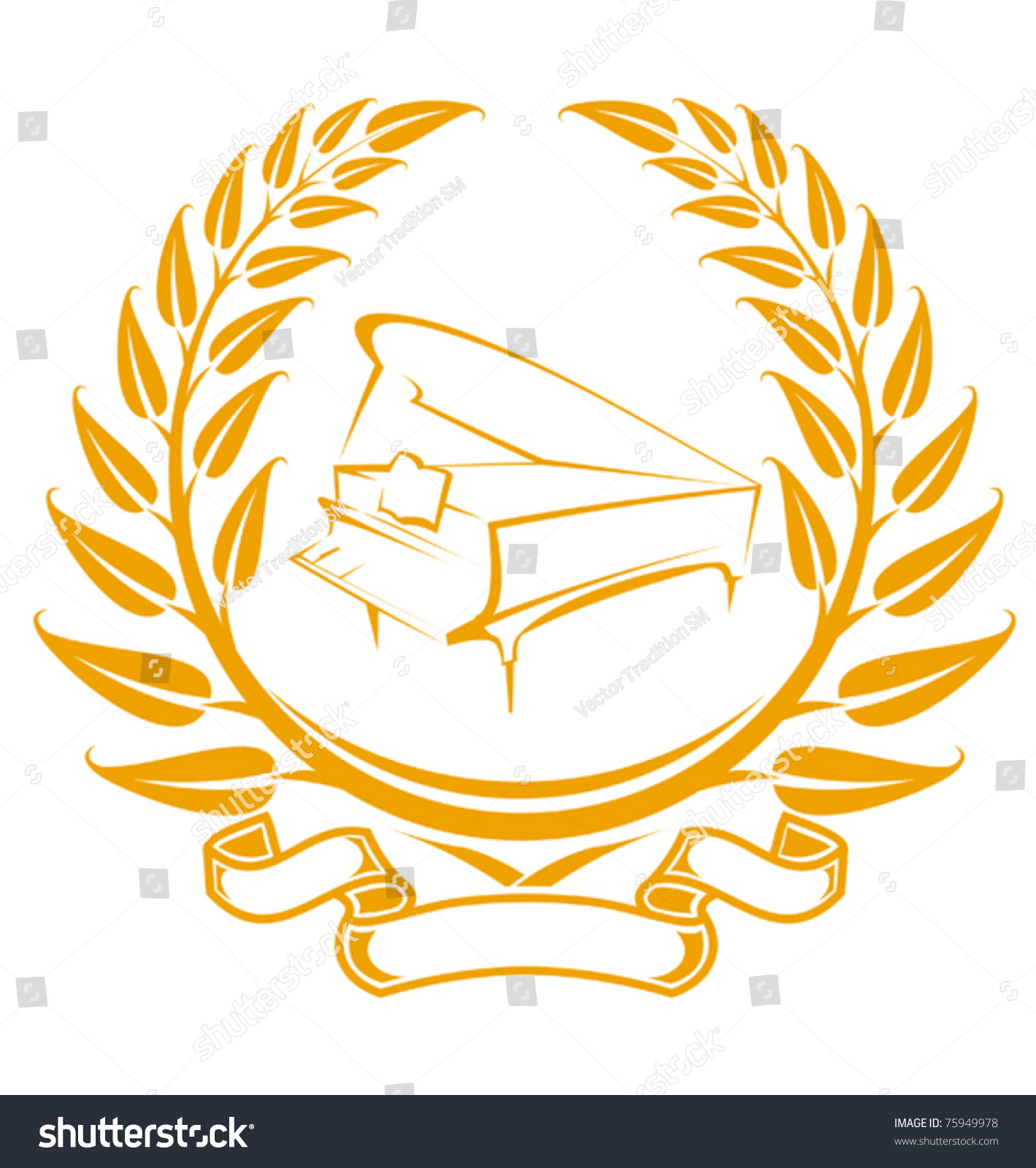 Piano symbol laurel wreath isolated on stock vector 75949978 piano symbol in laurel wreath isolated on white jpeg version also available in gallery biocorpaavc Gallery