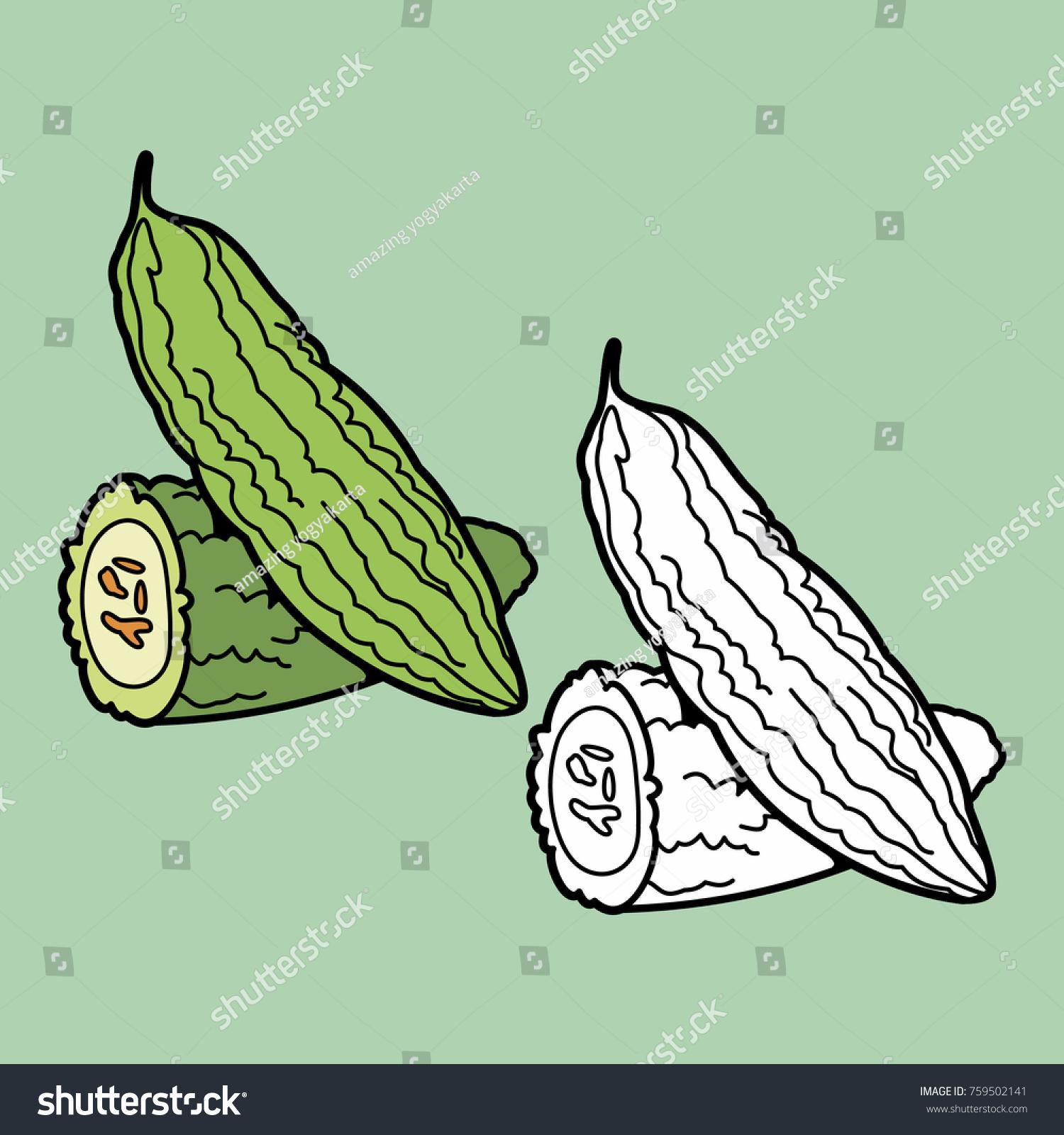 Coloring Illustration Kids Fruits Vegetables Stock Vector (Royalty ...