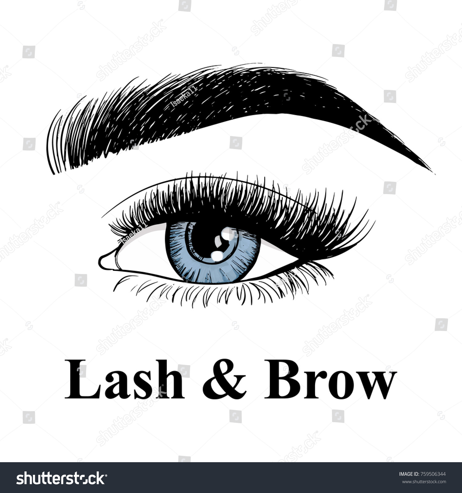 54a46961f15 Beauty lash and brow studio logo. Typography poster. Blue Eye, eyebrow and  long.