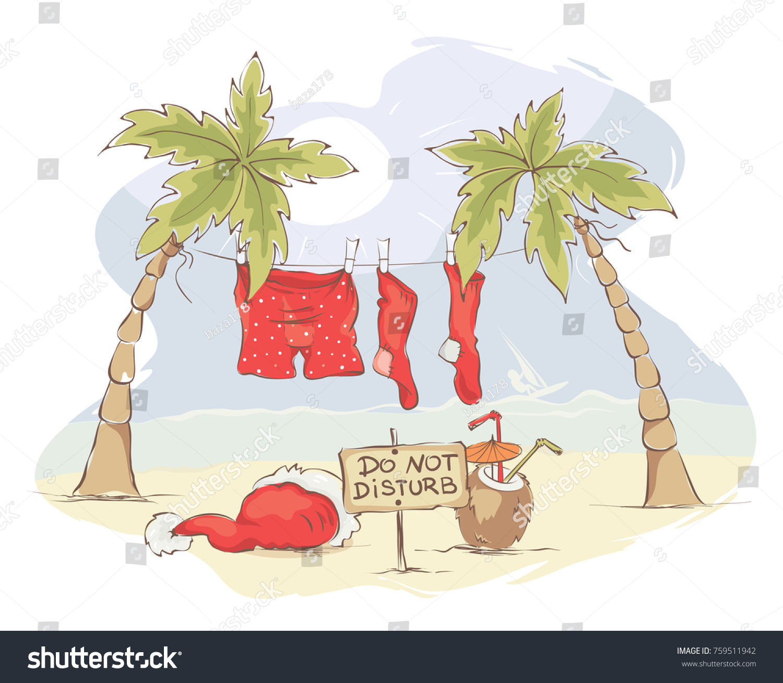 Santa Claus Beach Vacation Funny Christmas Stock Vector (Royalty ...