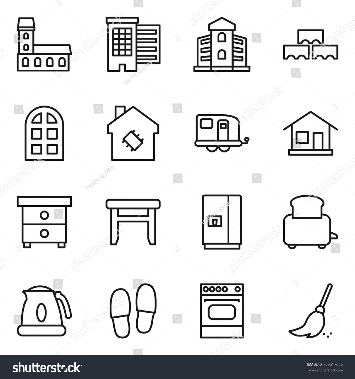 Thin Line Icon Set Mansion Houses Stock Vector (Royalty Free