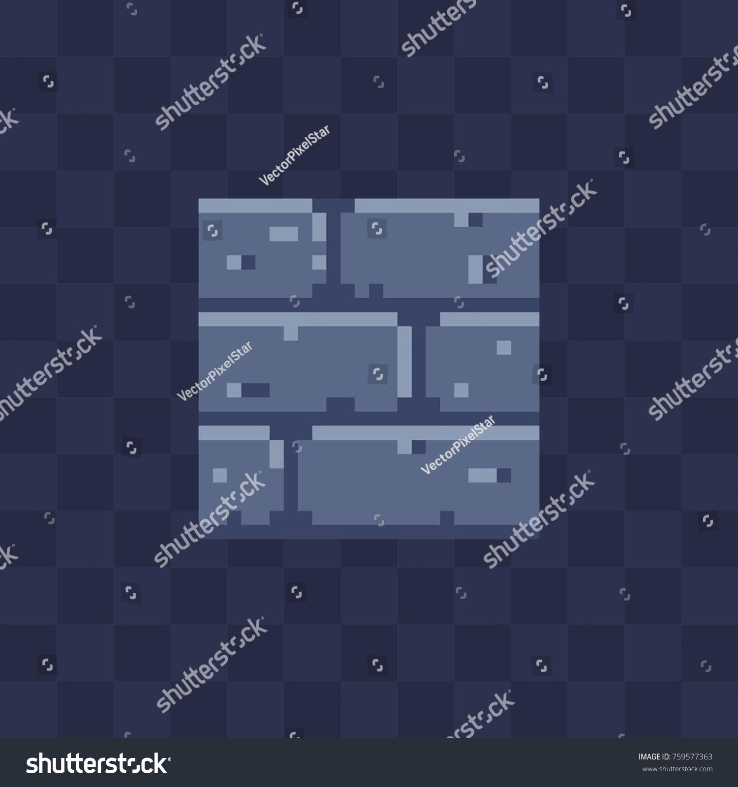 Stone Wall Flat Icon Pixel Art Stock Vector 759577363 - Shutterstock