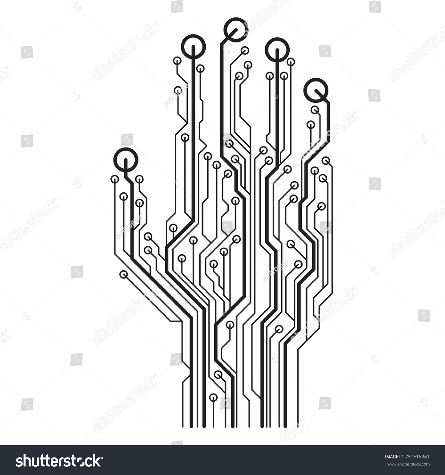 Hand Circuit Board Vector Illustration Isolated Stock Vector ...
