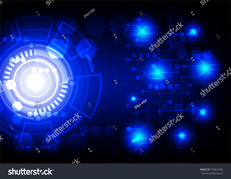 futuristic lighting. Blue Hi Tech Lights And Futuristic Light Circle On Dark Background Lighting