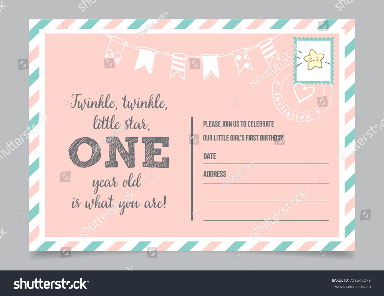 Girl One Year Birthday Invitation Card Stock Vector 759643279 ...