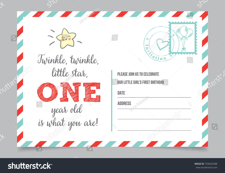 Girl One Year Birthday Invitation Card Stock Vector 759643288 ...