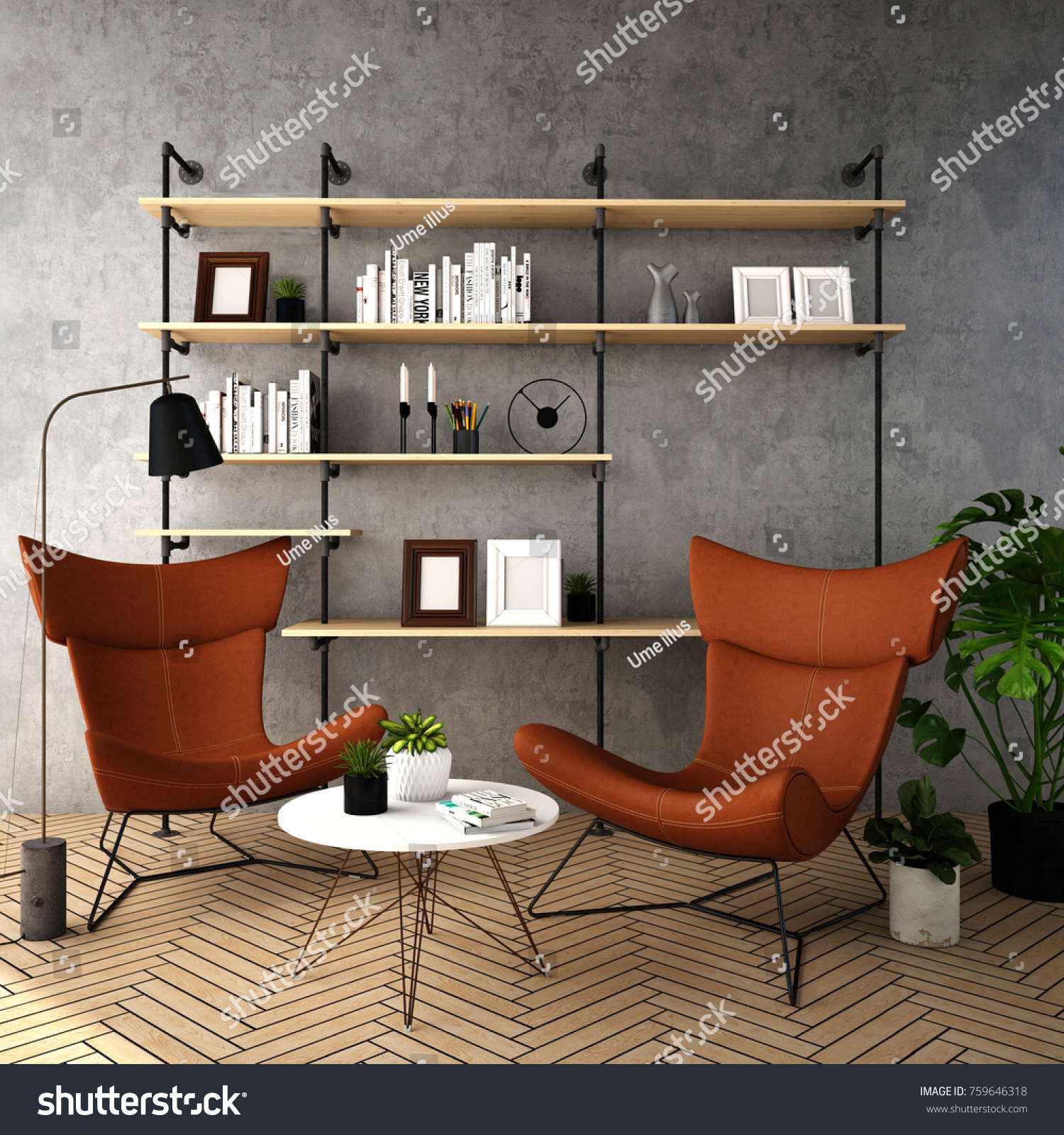 Interior design for living area in modern style with plant armchair table and many props on wood floor and gray wall 3d rendering 3d illustration