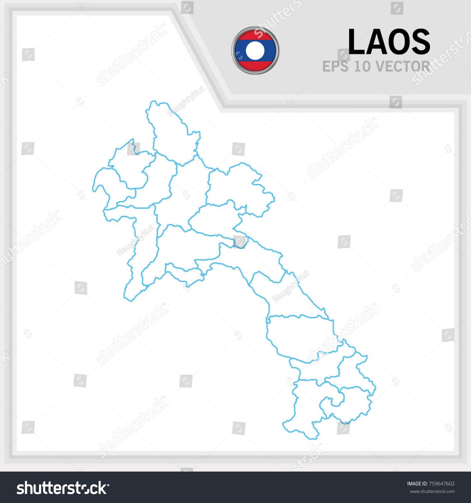 Laos Map Stock Vector Image Robert H Treman State Park Map - Laos map vector