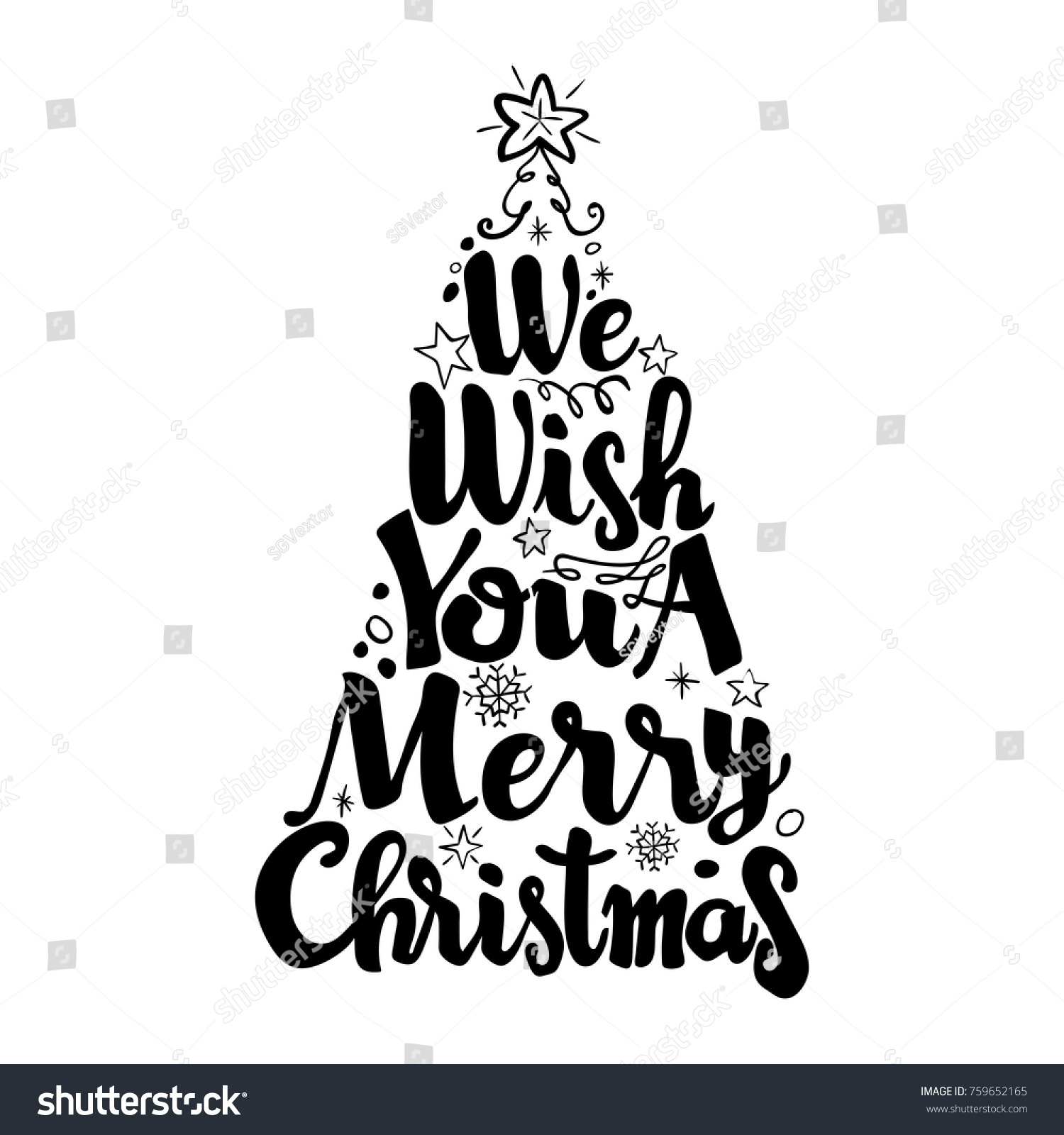 We Wish You Merry Christmas Isolate Stock Vector (Royalty Free ...