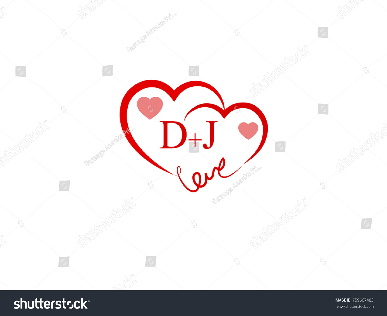 DJ Initial Wedding Invitation Love Logo Stock Vector (Royalty Free ...