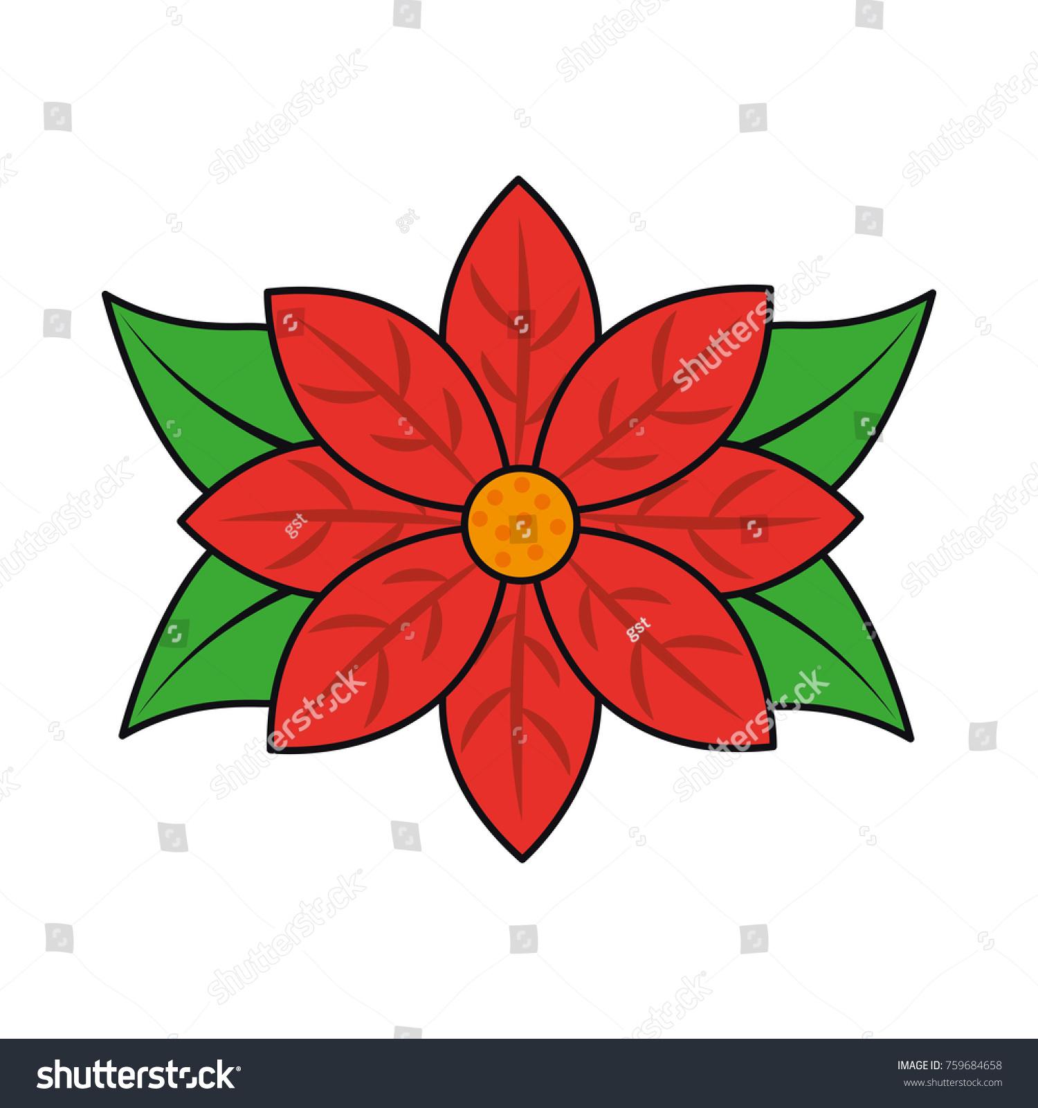 Poinsettia Flower Christmas Decoration Natural Stock Vector Royalty