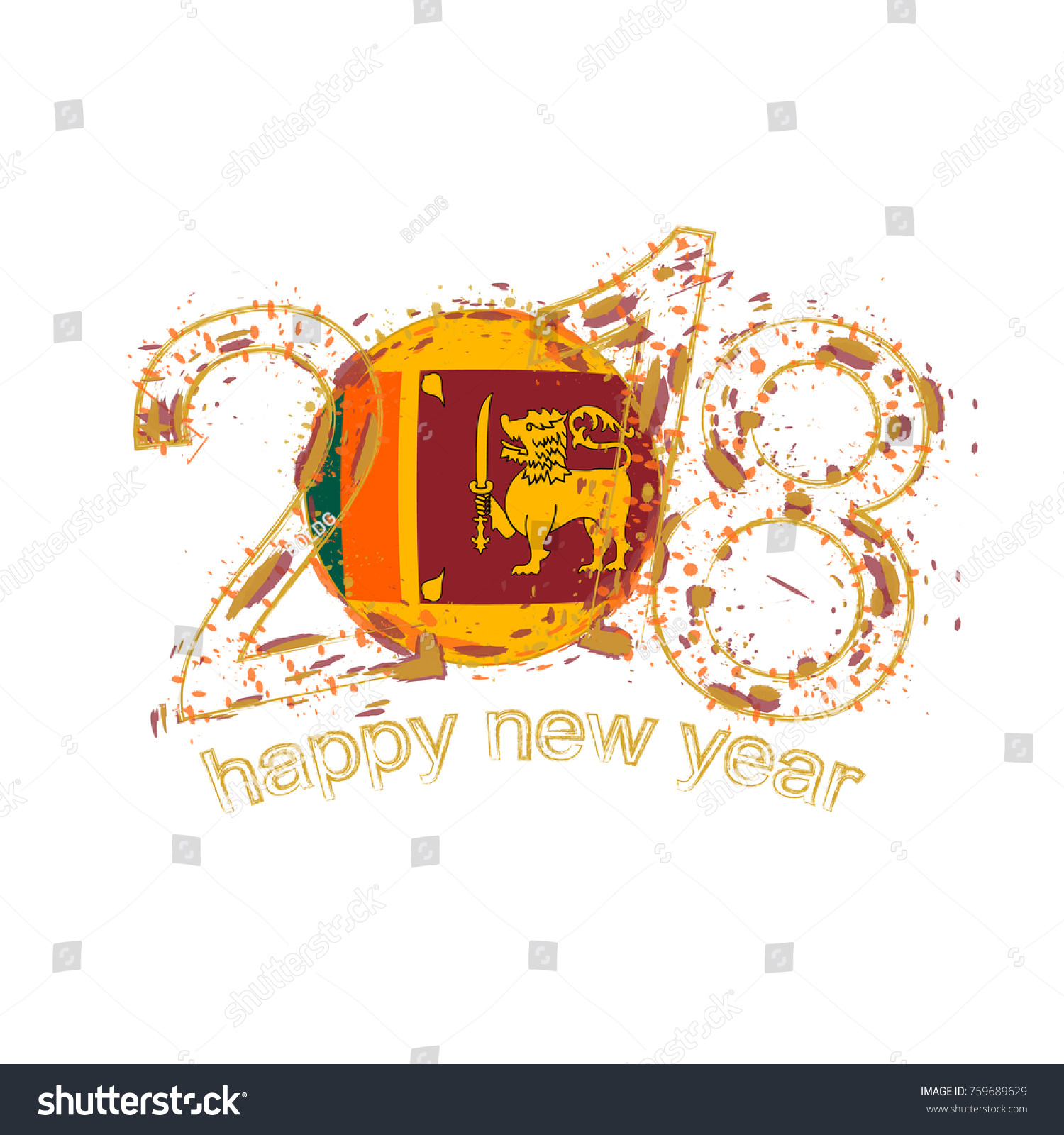 2018 Happy New Year Sri Lanka Stock Vector Royalty Free 759689629
