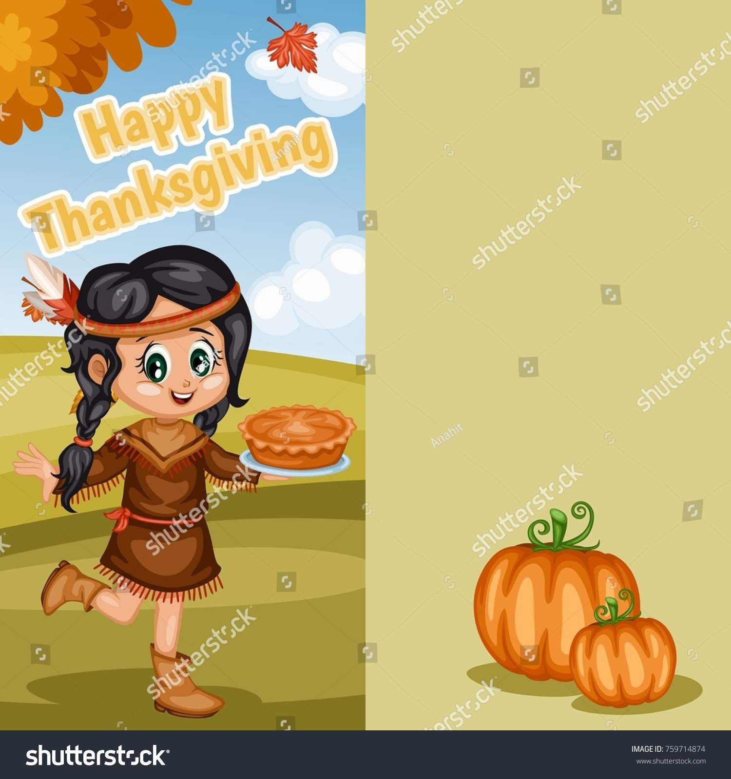 Happy thanksgiving greeting card vector illustration stock vector happy thanksgiving greeting card vector illustration native american indian girl with pumpkin pie kristyandbryce Choice Image