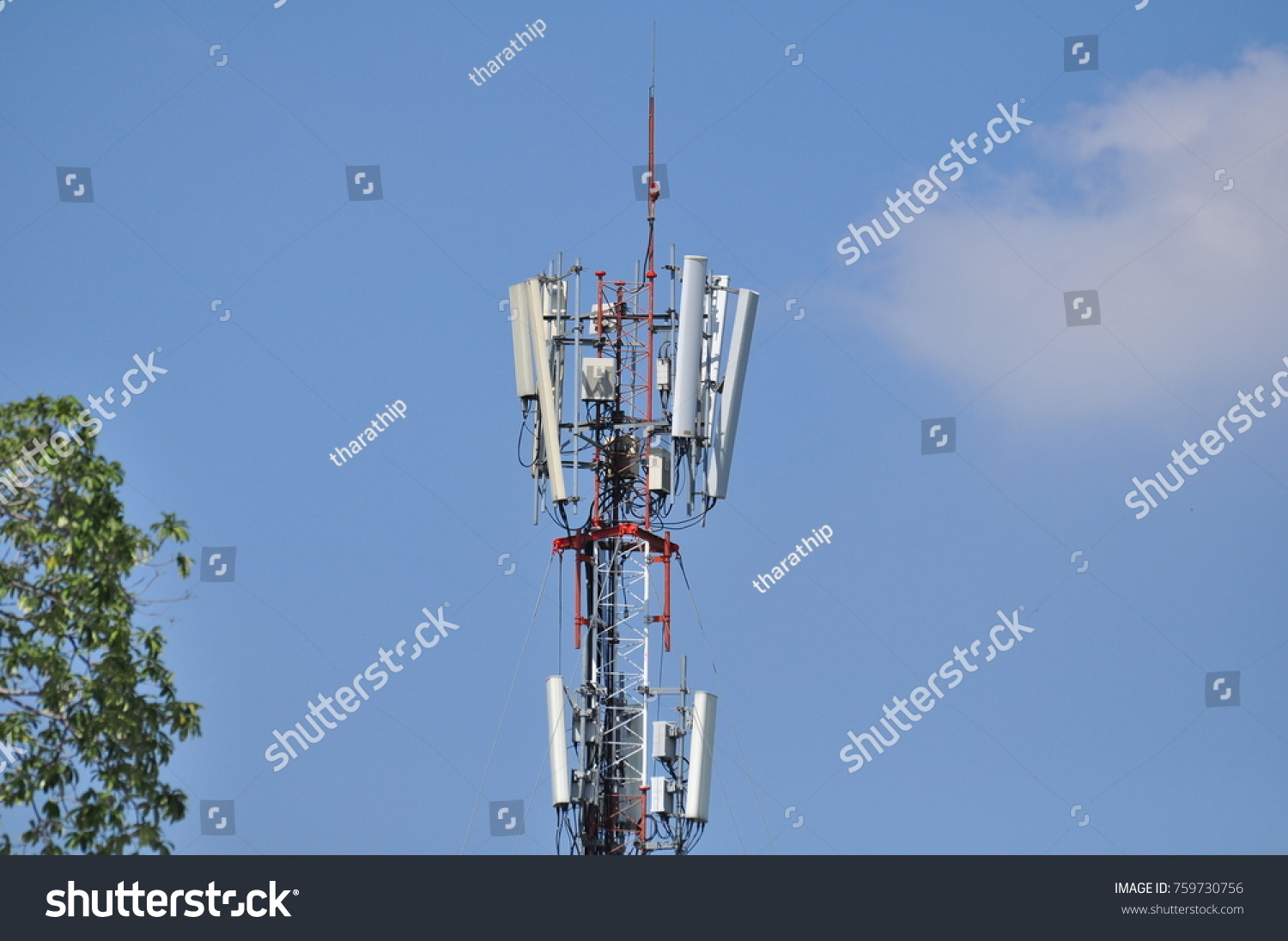 Telecom Towers Wireless Communication Systems Blue Stock Photo ...