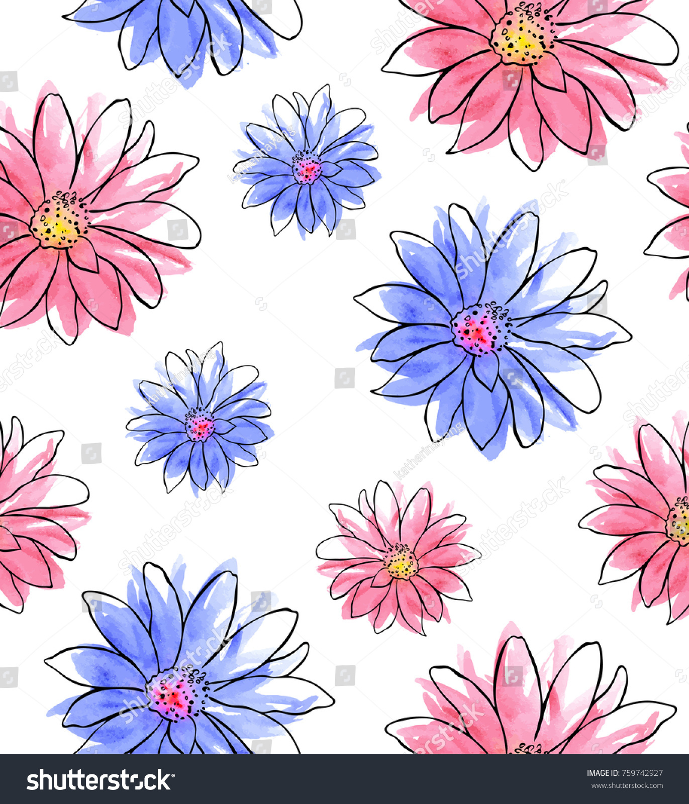 Watercolor Seamless Pattern Pink Blue Flowers Stock Photo Edit Now