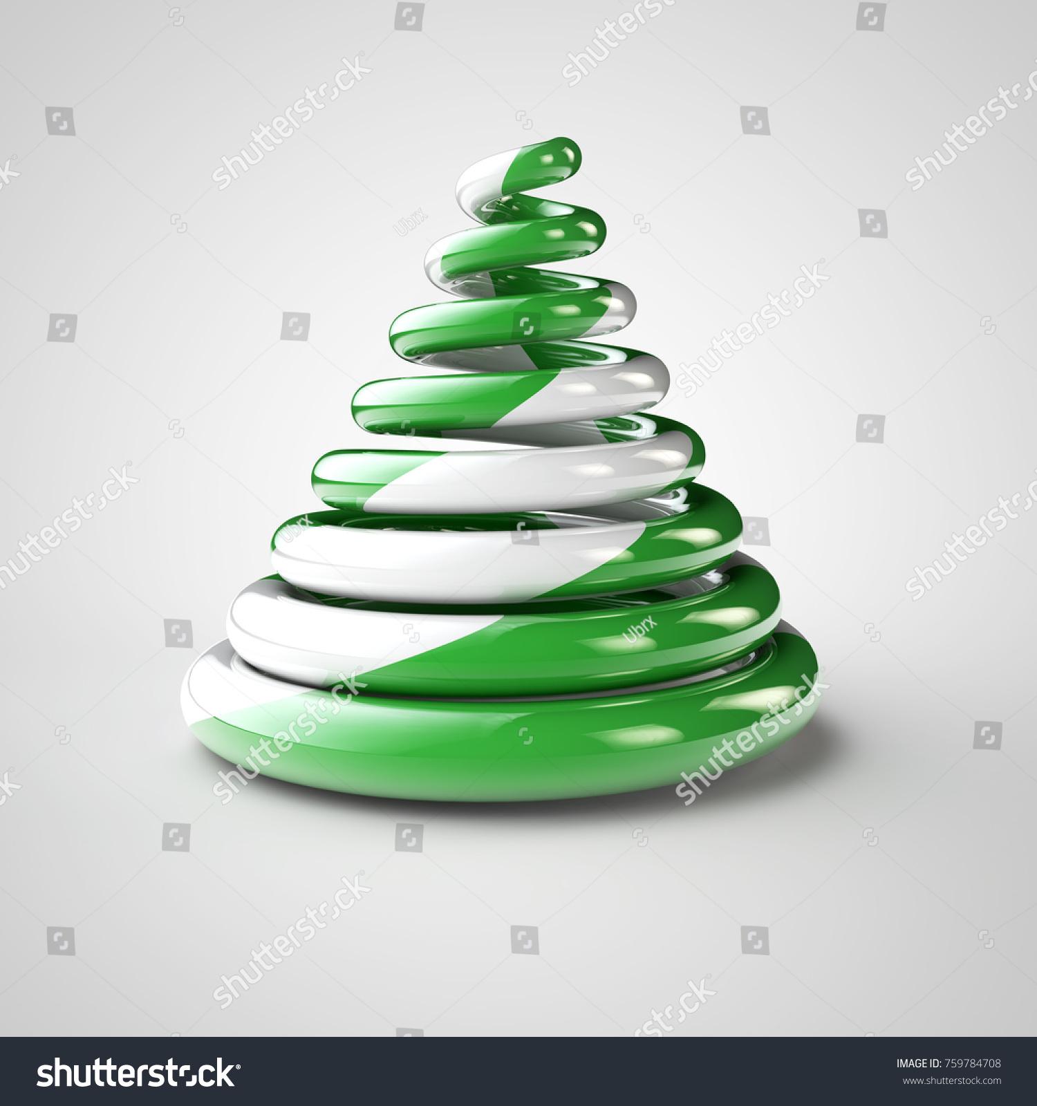 Isolated Green Christmas Candy Tree Symbolic Stock Illustration