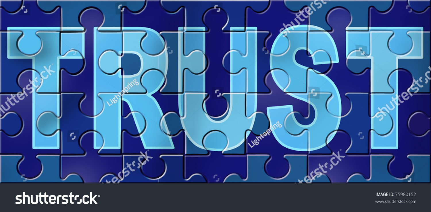 Trust honor financial business symbol representing stock trust and honor financial business symbol representing the concept of integrity with a completed puzzle as buycottarizona Images