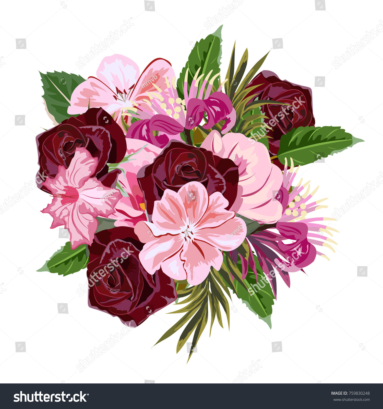 Bouquet Burgundy Roses Cute Pink Flowers Stock Vector Royalty Free