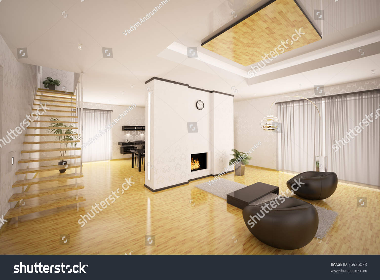 Apartment living room and kitchen - Interior Design Of Modern Apartment Living Room Kitchen 3d Render