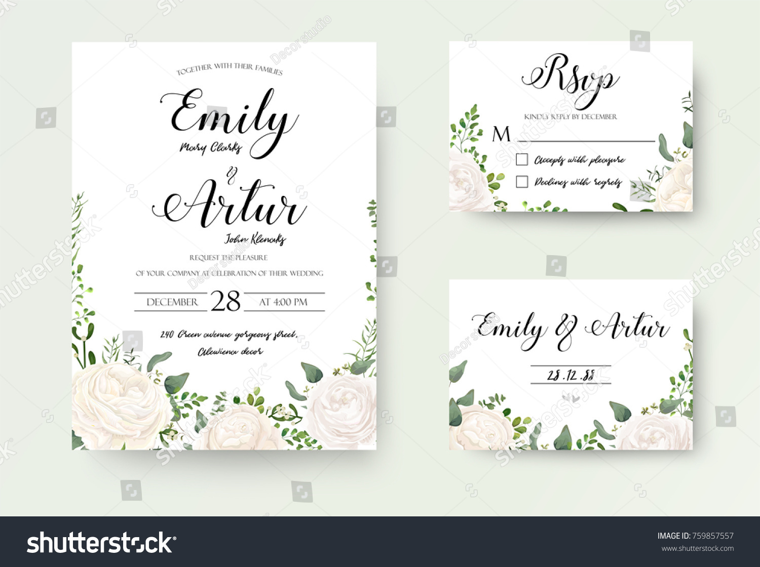 wedding invitation floral invite rsvp cute のベクター画像素材