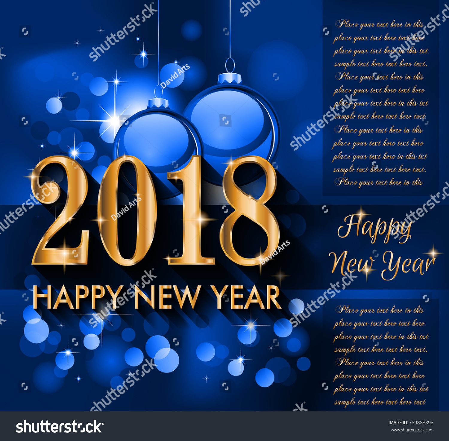 2018 happy new year background your stock vector 759888898 2018 happy new year background for your seasonal flyers and greetings card or christmas themed invitations kristyandbryce Choice Image